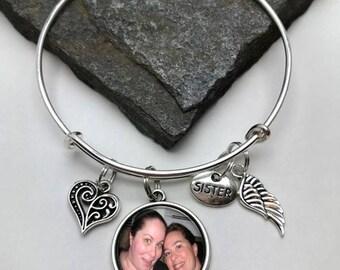 Sister Memorial Charm Bracelet, Photo Memory Bracelet, Memorial Charm Bracelet, Sister Bracelet, Sister Memorial