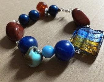 Earth and Ocean tones beaded bracelet