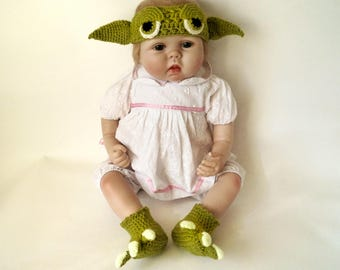 Crochet pattern PDF Infant Baby Yoda costume, Infant Yoda Headband and Infant Yoda Booties, Infant Baby Star Wars