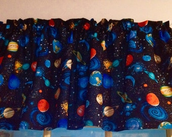New OUTER SPACE PLANETS Window Curtain Valance