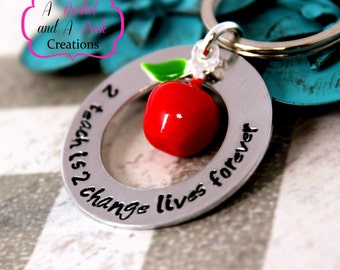 Hand Stamped Teacher Key chain with red apple charm