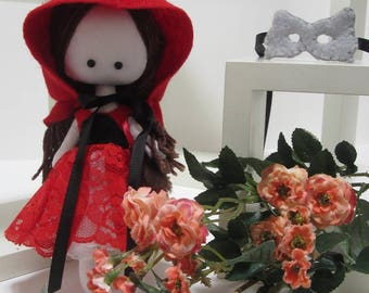 Little red hood, wolf mask, cloth doll, rag doll