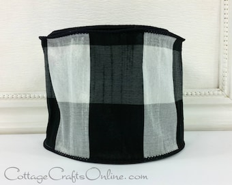 "Wired Ribbon, 4"", Black and White Faux Silk Buffalo Plaid - TEN YARD Roll - d Stevens ""Buffalo Dupioni"" Check Wire Edged Ribbon"