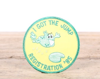 Vintage Girl Scout Patch / 1985 I Got The Jump Registration Patch / Girl Scout Patch / Boy Scout Patch / Frog Grunge Patch