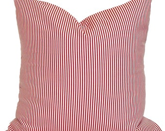 RED TICKING PILLOW Cover, Red Decorative Pillow,Red Pillows, Red Pillow Covers,All Sizes, Ticking Stripe Pillow,Christmas Pillow, Sham