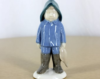Vintage GH & Co Germany Porcelain Fisherman Fishing Little Boy Figurine