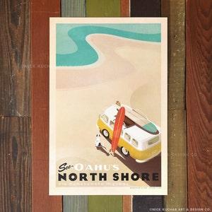 See Oahu's North Shore - 12 x 18 Retro Hawaii Travel Print