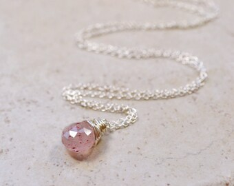 Tiny Pink Rutilated Quartz Necklace,  Earthy Mineral Specimen Rock Quartz Pendant, Geology Botanical Sterling Silver