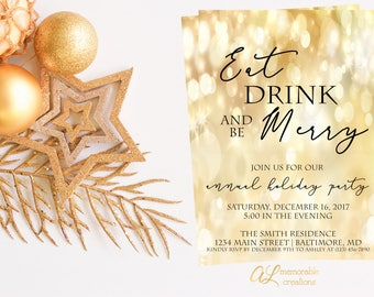 Eat Drink and Be Merry Christmas Party Invitation, Christmas Invitation, Holiday Party Invitation, Modern Gold Christmas Party Invitation