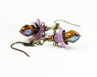Manila, Vintage Floral Inspired Earrings, Lavender Amber Crystal & Lucite