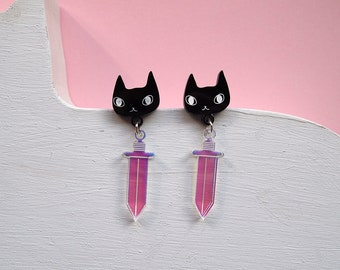 Cats and Swords Earrings - Black cat earrings - I like cats - Cat earrings - Daggers - Acrylic jewellery - Laser cut - Swords - Statement