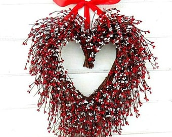 Heart Wreath-Summer Wedding-Summer Wedding Decor-RED -WHITE Heart Wreath-Mothers Day Gift -Wedding Gift-Heart Wreath-Choose Ribbon & Scent