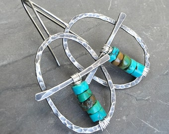 Turquoise Hoops, Oxidized Silver Hoop Earrings, Hammered Silver Oval Hoops with Turquoise Beads, Turquoise Earrings, Boho Threader Hoops