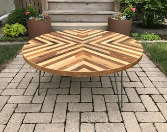 Round Reclaimed Wood Lath Coffee Table