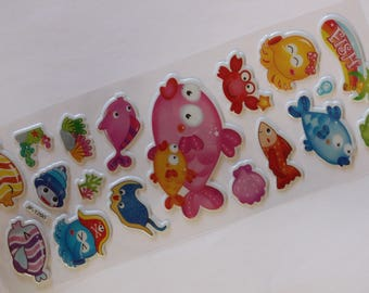 sheet of 18 fish scrapbooking stickers