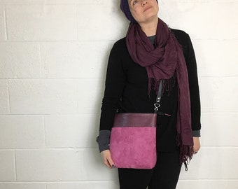 lynn- purple leather, black leather strap, cross-body bag, inside-out, small crossbody, leather bag zippermetal hardware