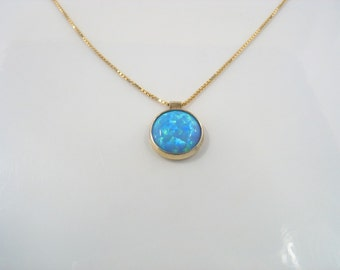 The Sparkle Pendant - man-made opal set in gold with gold chain
