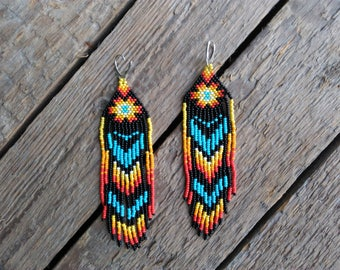 Native American Beaded earrings, seed bead earrings, Mexican earrings, boho earrings, fringe earrings