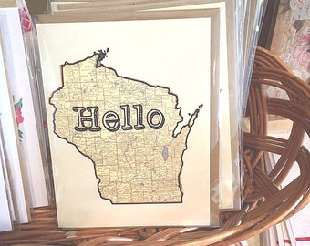 Hello from Wisconsin Greeting Card // Stationary