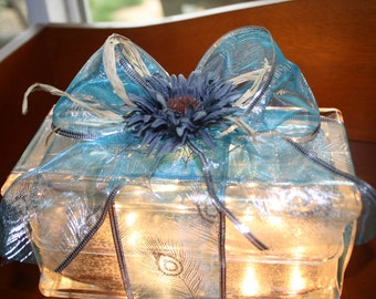 Glass block Night Light with blue ribbon, rafia and blue flower