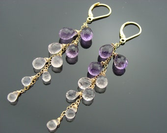 Amethyst and Rose Quartz Drops Cascade Long 14 K Gold Filled Leverback Earrings