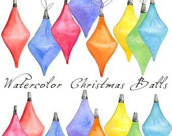 Christmas Digital Clip Art, Christmas Ornament, Watercolor Christmas Balls, Christmas Bulb