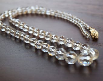 Antique 1920s Art Deco 14k Gold Graduated Crystal Beaded Necklace