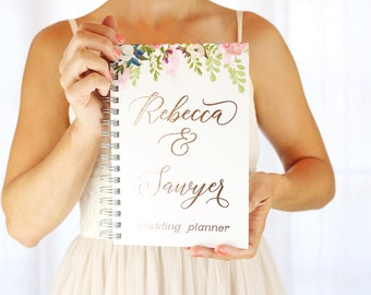 Wedding Planner Book Rose Gold Foil Planner Personalized Monthly Planner Budget Planner Gift Fiancé Gift Wedding Checklist Rustic Wedding