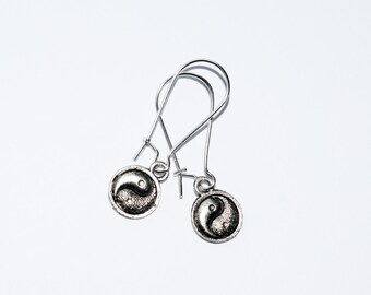 Cute Yin Yang Silver Tone Drop Earrings