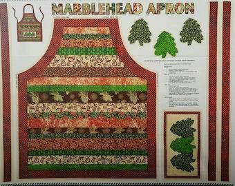 "Christmas Apron, Christmas Fabric: Glistening Christmas Metallic Apron - Christmas Tree 100% cotton canvas fabric by the PANEL 36""x44"" (J74)"