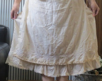 Tea Time Apron Skirt with built in Petticoat. (size small - medium) with adjustable waistband. Handmade by Seashellanna