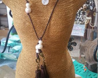 Freshwater Pearl Silk Tassel Lariat