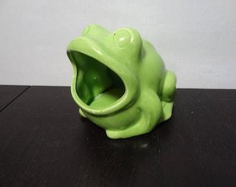 Vintage Retro Ceramic Green Frog Kitchen Sponge Holder or Small Planter