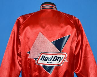 80s Bud Dry Draft Beer Snap Up Satin Lined Jacket Large