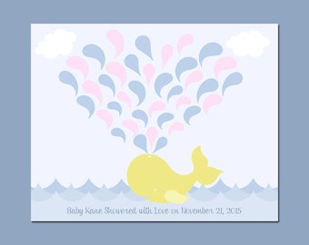 Baby Shower Guest Signature Print, WHALE Baby Shower Keepsake Print,  Baby Whale Signature Print, Alternative Baby Shower Guestbook