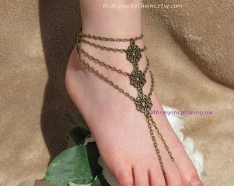 Chain barefoot sandal, foot jewelry beach wedding barefoot sandals, beach wedding shoes, barefoot wedding sandals, gypsy anklet toe ring