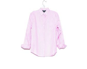RALPH LAUREN BLOUSE small // preppy cotton blouse pinstripe dress shirt striped shirt, ralph lauren polo, womens clothing, dusty rose pink