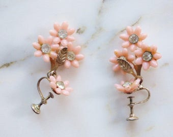 Vintage Screw Back Earrings Pink Flower Earrings