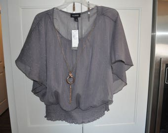 Womenu0027s Thrifted A. Byer Top, Womenu0027s Gray Blouse, Womenu0027s Small Gray Top,