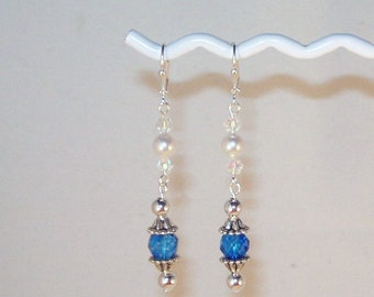 Blue Topaz Swarovski Crystal And Pearl Earrings