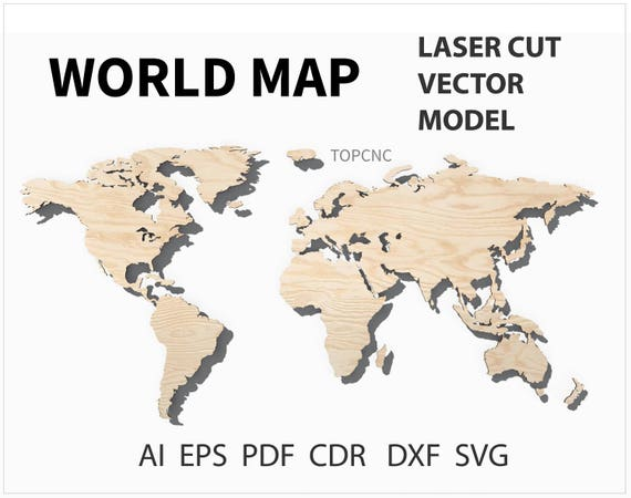 World map laser cut file world map vector digital download svg world map laser cut file world map vector digital download svg png dxf eps cdr from topcnc on etsy studio gumiabroncs Gallery