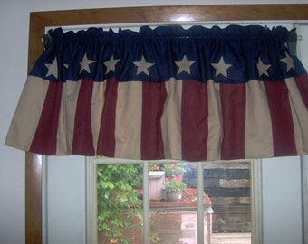 Primitive Americana valance with appliqued stars.  48inches  Patriotic Choice of color combinations