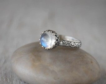 Rainbow Moonstone Ring in Sterling Silver -  Silver Moonstone Gemstone Ring - Handcrafted Artisan Silver Ring