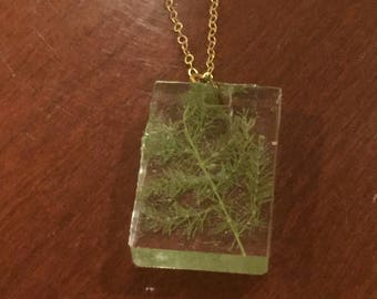 Leafy Green Fern Resin Square Pendant Necklace with Gold Chain