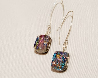 Multicolor Blue Pink Amber Glass Earrings with Sterling Wires - Cyberlily