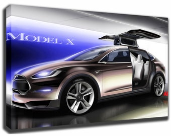 Tesla art etsy tesla model x canvasposter wall art pin up hd gallery wrap room decor home malvernweather Images