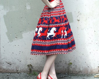 Vintage 1960s 1970s Skirt // 60s 70s Red Navy Blue and White Horse Print Skirt // Polyester High Waist Pleated A-Line Skirt