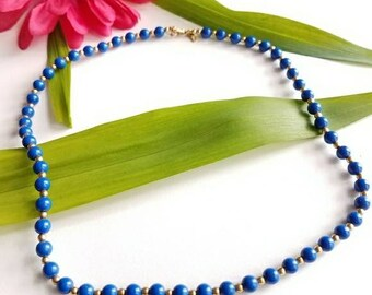 Blue beads Vintage necklace by Monet gold tone