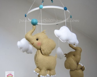 Baby crib hanging mobile Cute Elephants / Cute Elephants Cot mobile / Cot Crib Ceiling baby mobile