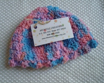Soft Hand-Painted Wool, Textured, Crocheted Unisex Baby  Hat - Baby Rainbow  281